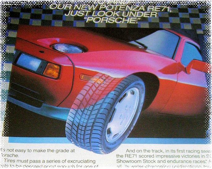 Tar med et utdrag av denne flotte 80-talls reklamesiden for Bridgestone.