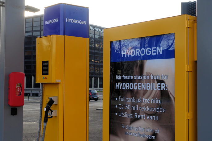 Norges første, og foreløpig eneste hydrogenstasjon.